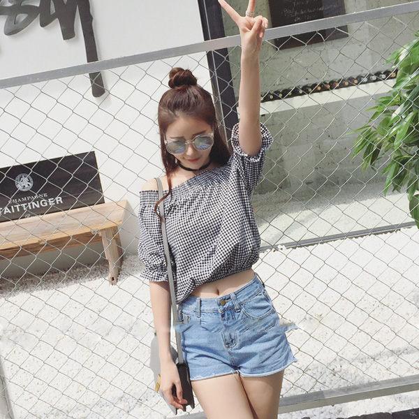 PS Mall 韓版甜美露肩一字領泡泡袖短袖T恤 上衣【T770】 - 限時優惠好康折扣