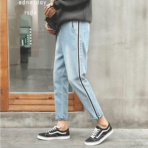 經典流行復古簡約邊條紋造型百搭休閒9分牛仔褲