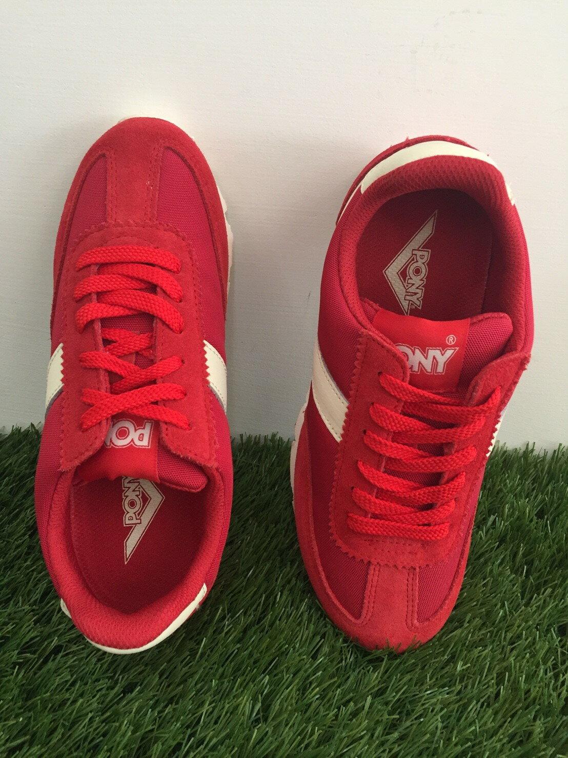 [25cm]★限時特價990元★ Shoestw【53W1SO79RD】PONY 復古慢跑鞋 內增高 紅白色 女生 1
