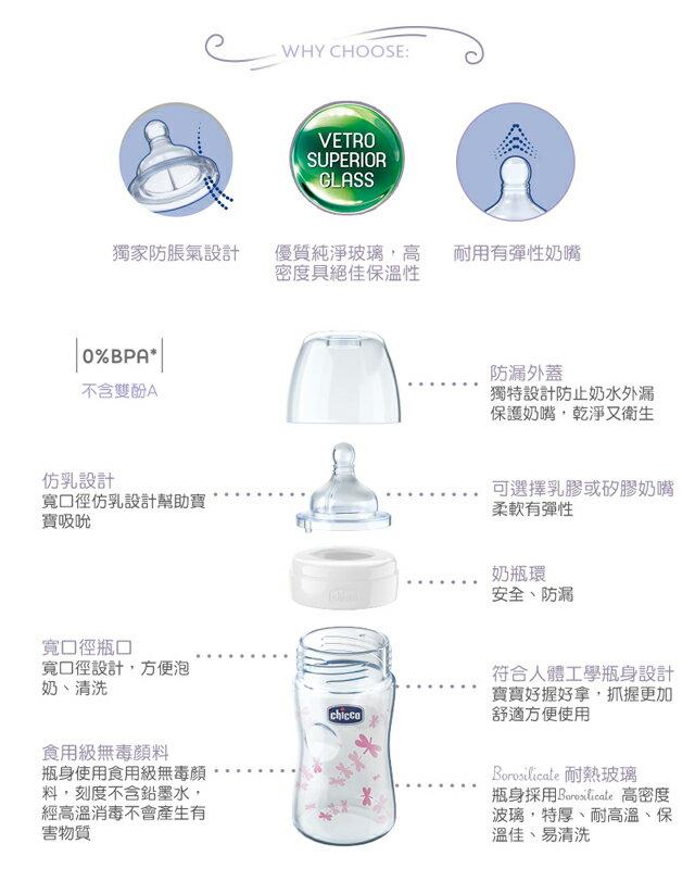 Chicco 舒適哺乳-自然率性玻璃奶瓶 (單孔) 240ml /乳膠【悅兒園婦幼生活館】