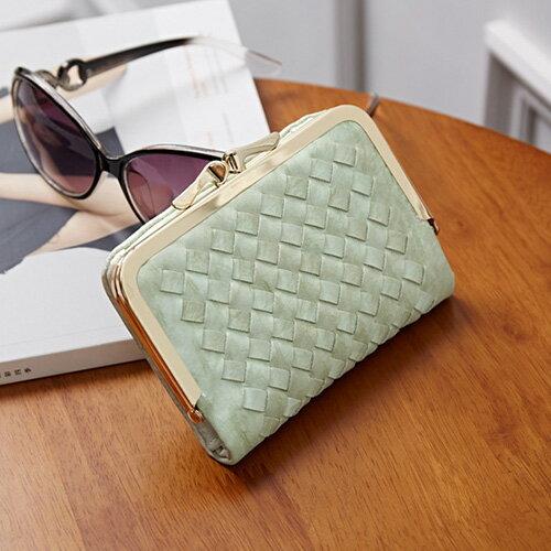 短夾 邊織雙珠扣皮夾卡包錢包短夾【WNB510-6B】 BOBI  12/01 0