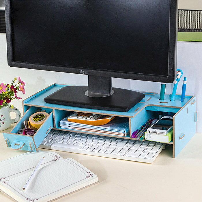 桌面收納抽屜置物架 螢幕架 鍵盤架 DIY電腦架 桌上架【YV7600】快樂生活網