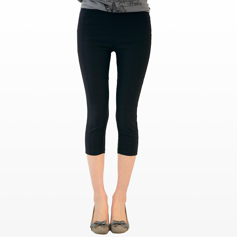 棉褲--特殊造型側邊車縫七分彈性棉褲(M-5L)-S32眼圈熊中大尺碼 1