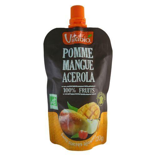 法國倍優Vitabio有機優鮮果PLUS-蘋果、芒果(有機鮮果泥增量版即食包)