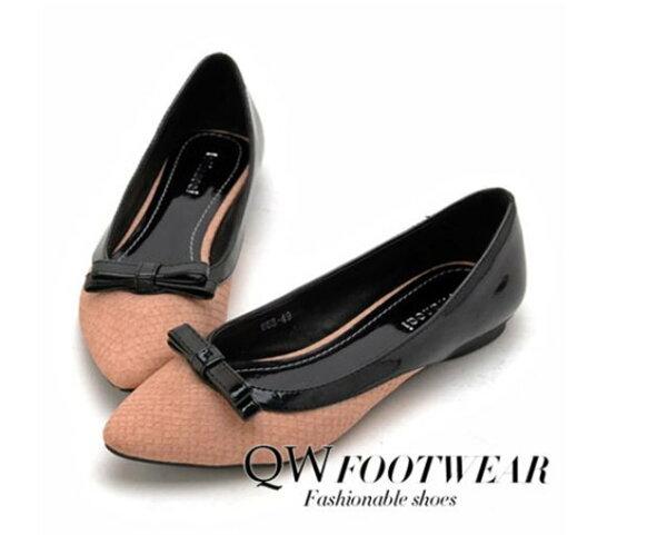 Pyf♥異材質漆皮拼接百搭小蝴蝶結平底鞋加大46大尺碼女鞋