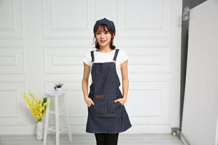 牛仔布口袋圍裙61X69cm(藍) [大買家] 3