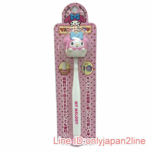 【真愛日本】17030900008 造型牙刷付吸盤-MM粉AAF 三麗鷗 美樂蒂 牙刷 衛浴組