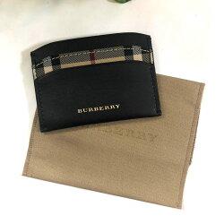 美國百分百【全新真品】Burberry 皮夾 明信片夾 格紋 真皮 精品 經典款 專櫃 logo 黑色 J735