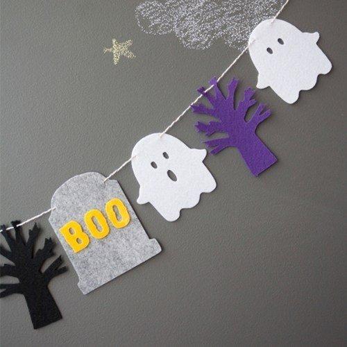 =優生活=萬聖節派對裝飾用品 Halloween旗幟拉花 暗夜森林幽靈boo掛旗 萬聖節裝飾 聖誕節
