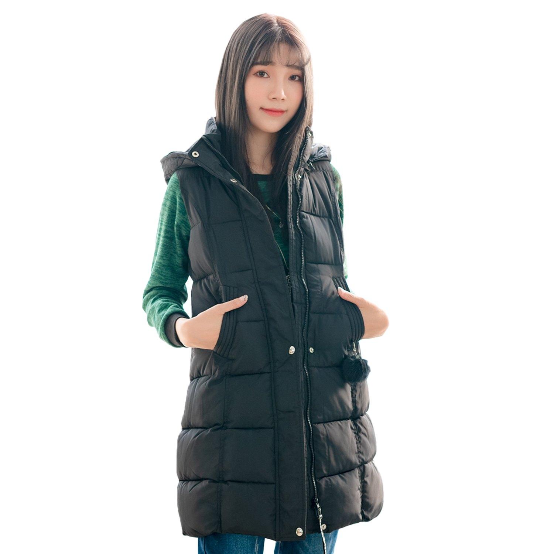 保暖--休閒立領連帽毛球英字布條拉鍊口袋羽絨棉背心外套(黑.紅.綠M-3L)-J236眼圈熊中大尺碼 2