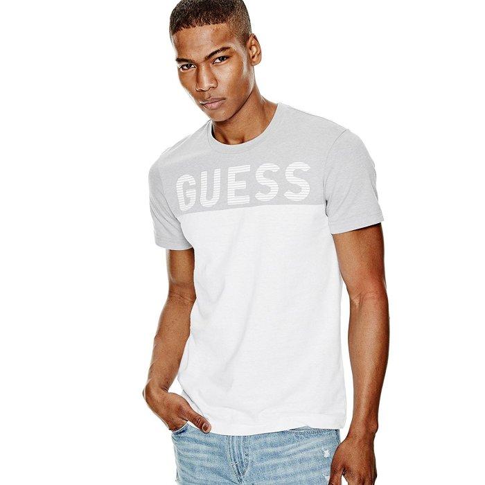 美國百分百【Guess】T恤 T-shirt 短袖 短T logo 拼色 上衣 灰白 男T XS S M號 H752