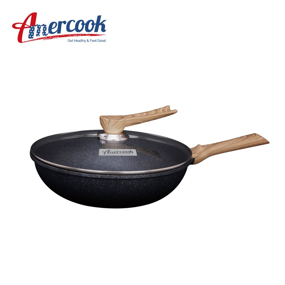 AMERCOOK KOREA GOLD 30cm不沾深炒鍋附蓋