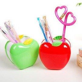 文具 可愛卡通筆筒 紅綠色蘋果 筆座 學生最愛~5801003