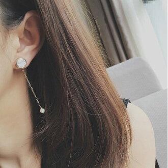 PS Mall 韓版歐美設計款大理石紋路圓形系列簡約幾何後掛式耳環耳釘耳飾品【G2165】