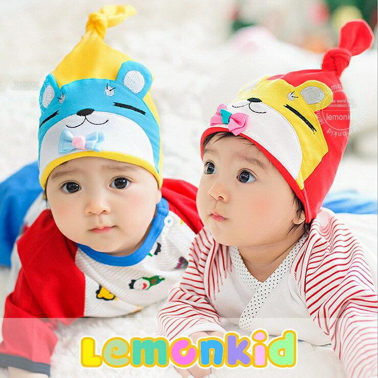 Lemonkid◆俏皮眯眼熊舒適彈性兒童 扭結套頭帽 ~  好康折扣