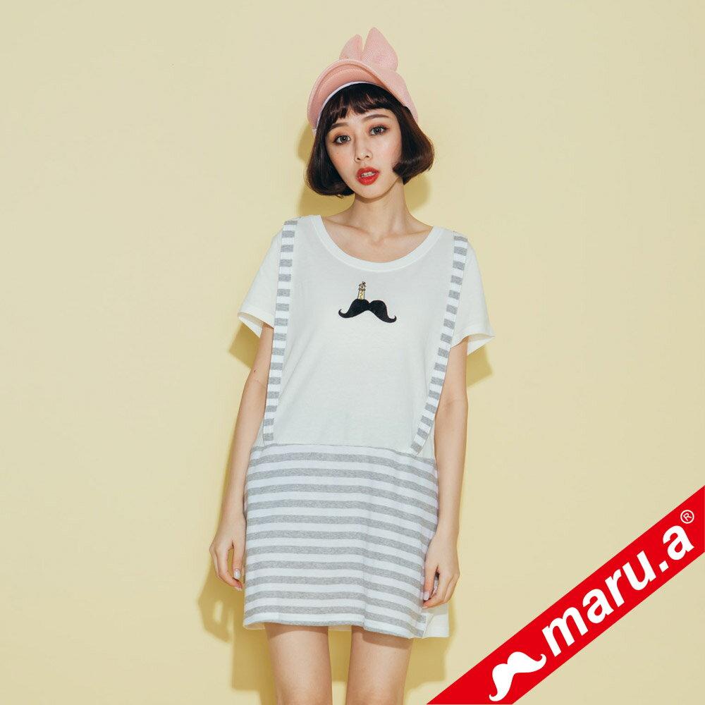 【maru.a】條紋拼接假吊帶長版T-shirt(2色)8321320 3
