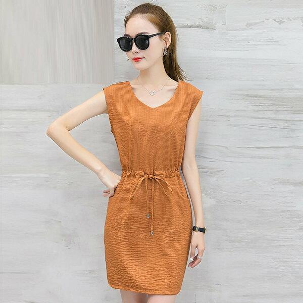 FINDSENSE G5 韓國時尚 條紋 連身裙 顯瘦 夏季 V領 休閒裙