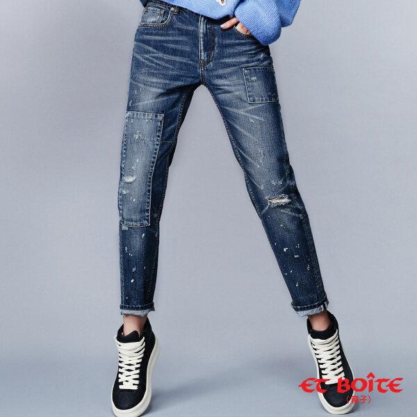 【春夏新品】【全方位美型計畫-17yrs玩美自我】潑漆點點刷破補丁男友褲(深藍)-BLUEWAYETBOiTE箱子