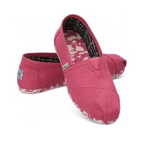 【TOMS】粉紅色花底帆布休閒鞋  Pink Earthwise Women's Vegan Classics 0