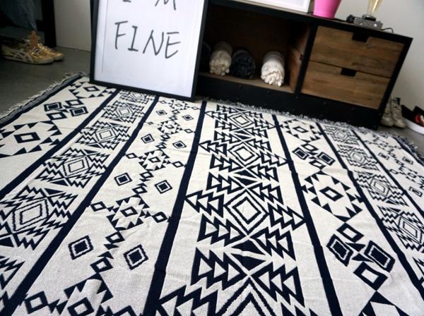 Stacey Boutique:BohoChic南法幾何黑白雙面蓋毯沙發毯