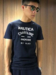美國百分百【全新真品】NauticaT恤帆船牌T-SHIRT上衣短袖貼布logo男款深藍J077