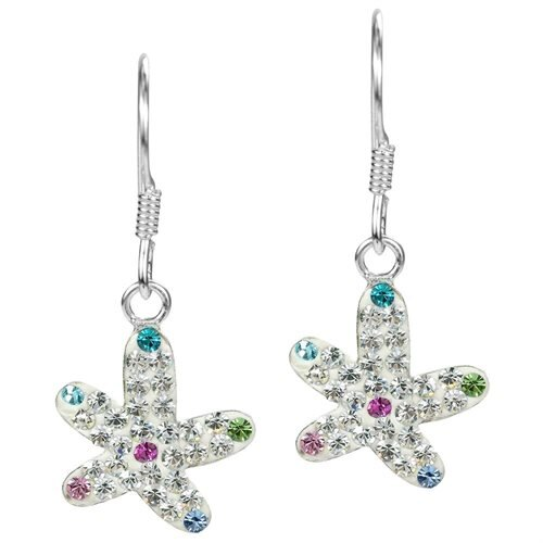 Star in the Sea White Crystal Encrusted Sterling Silver Earrings 0