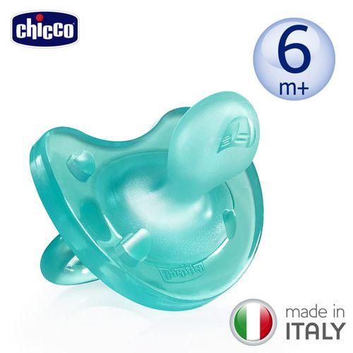 ~衛立兒 館~Chicco 舒適哺乳~矽膠拇指型安撫奶嘴^(中^)6m ^(亮藍^)^#1