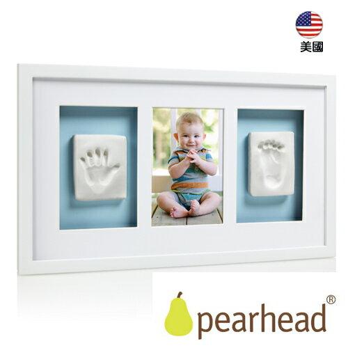 【Pearhead 】寶寶印記精品掛牆相框(3格) – 白色