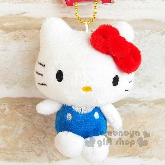 〔小禮堂〕Hello Kitty 絨毛娃娃吊飾《藍.坐姿》