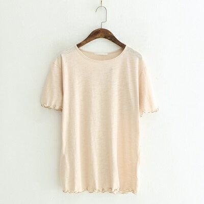 短袖T恤純色上衣-清新甜美波浪邊簡約女打底衫3色73sy38【獨家進口】【米蘭精品】