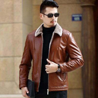 皮衣夾克外套-翻領皮毛一體加厚男夾克3色73pn6【獨家進口】【米蘭精品】 0