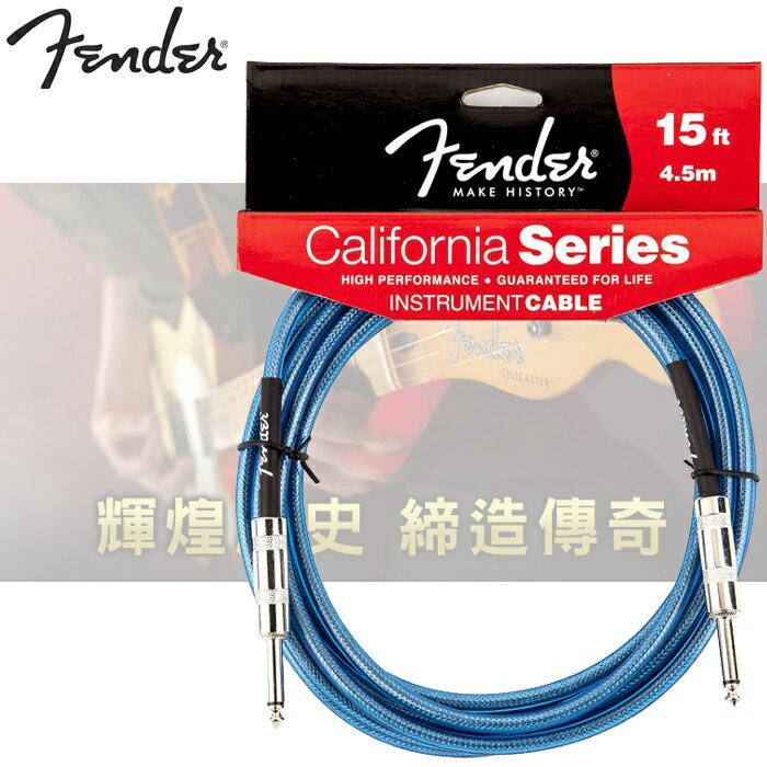 【非凡樂器】『Fender California series原廠導線15ft 4.5m』總代理公司貨高級線頭材質【藍】