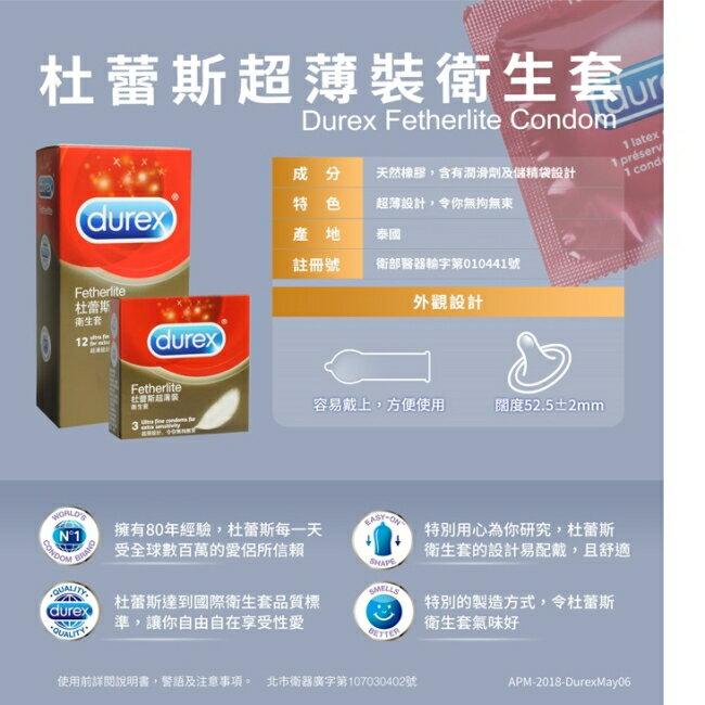 Durex 杜蕾斯 超薄裝 保險套(12入/盒)x4
