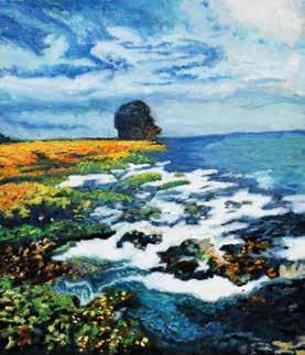 畫作磁鐵-墾丁船帆石【林盈秀】馬口磁鐵 / 身障畫家們透過畫作表達自己對台灣這片土地的愛 7.9cm*5.4cm*1.5cm
