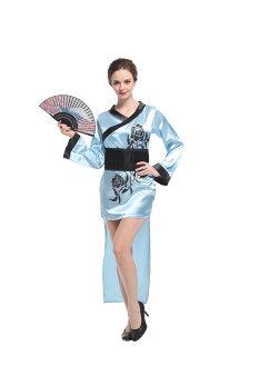X射線【W380023】優雅淺藍和服, 舞會/道具/尾牙/萬聖/聖誕/大人變裝/cosplay/表演/藝妓/職業