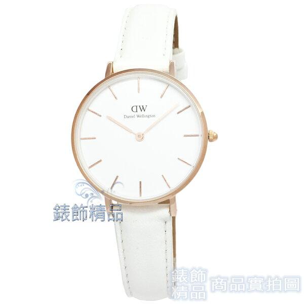 【錶飾精品】現貨瑞典DW手錶DW00100189玫瑰金PetiteBondi白色皮錶帶32mm全新正品生日禮物