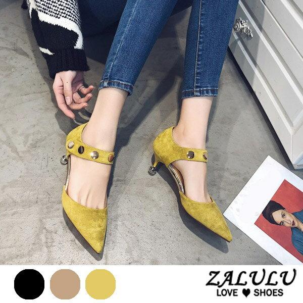 ZALULU愛鞋館7EE061預購獨家款金屬片低跟尖頭包鞋-黑卡其黃-35-39