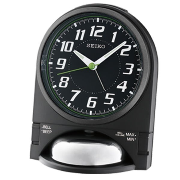 Seiko 精工鐘 (QHK036K) 兩段式音量座鐘造型鬧鐘(黑)/15.5*11.5*11.2 cm