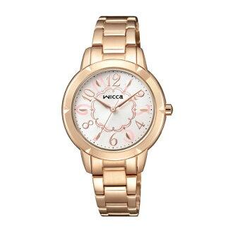 CITIZEN星辰WICCA(BT2-769-11)公主系列玫瑰金時尚腕錶/粉紅面30mm