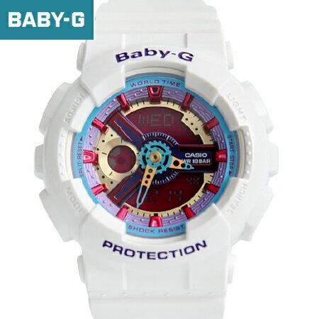 Baby-G 鮮艷金屬白色手錶 柒彩年代【NECB7】casio BA-112-7ADR