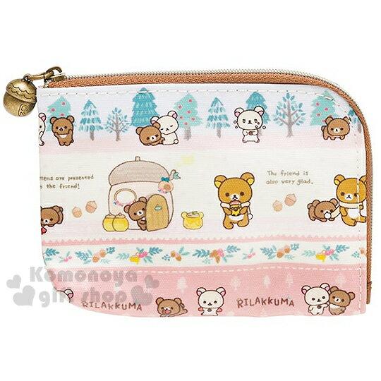 〔小禮堂〕懶懶熊 防水票卡零錢包《粉白.蜂蜜熊.多動作》L型拉鍊開口.冬日手套系列