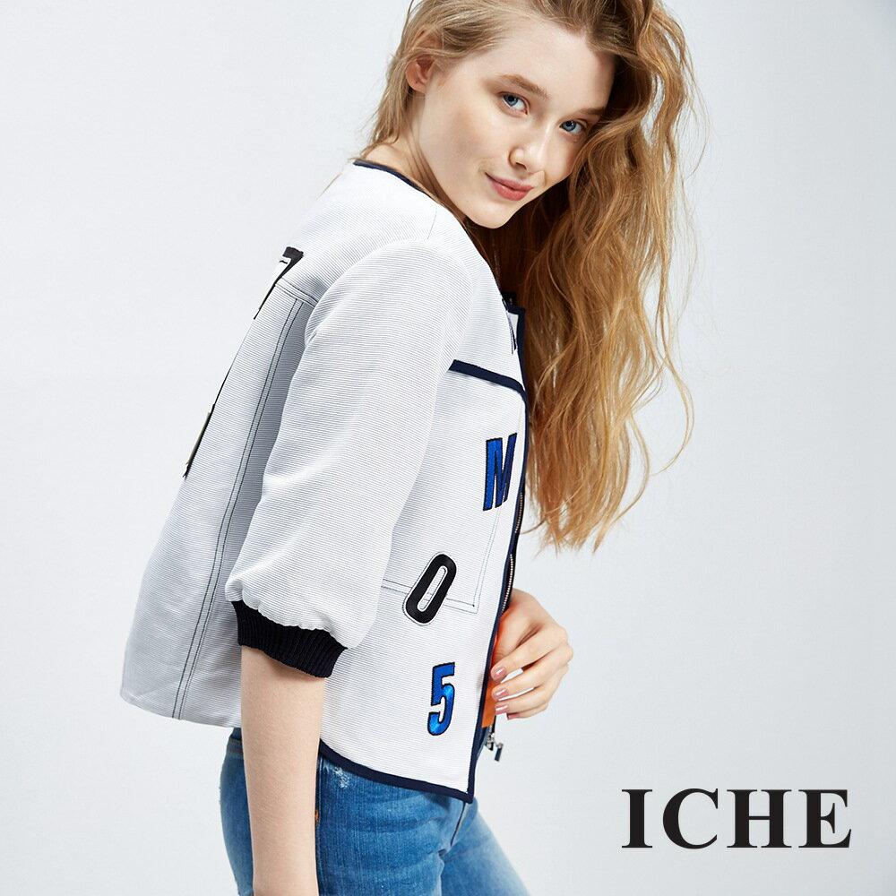 ICHE 衣哲字母細條紋造型夾克外套
