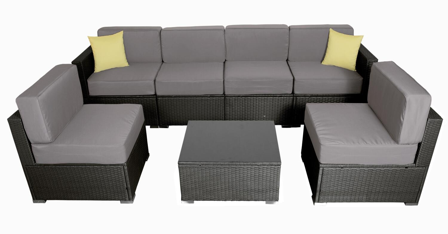 MCombo 6082 7PC Bigger Size Outdoor Furniture Luxury Patio With Black  Wicker And Grey Cushion Cover 6082-7PC-EY