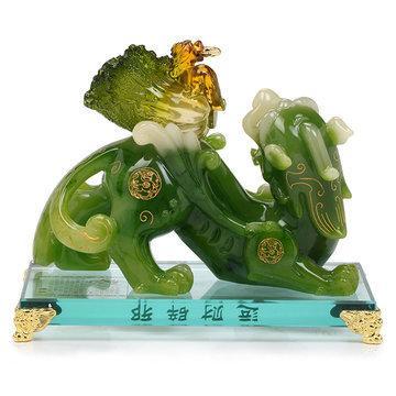 吉善緣 大號樹脂貔貅擺件 百財白菜招財鎮宅家居工藝品擺設QY377