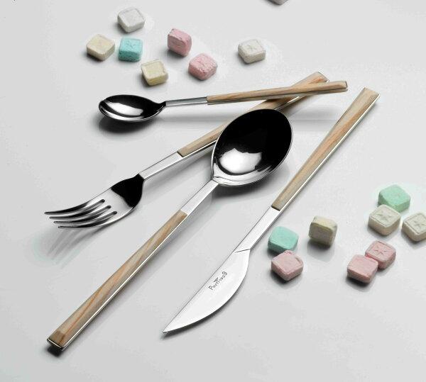 義大利Pintinox個人四件餐具組-主餐刀+叉+匙+咖啡匙(仿樺木淺棕)