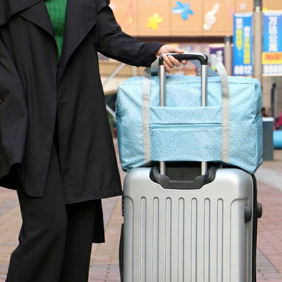 ♚MY COLOR♚韓版印花拉桿折疊旅行包 韓國 便攜 外掛 旅行 收納 拉桿 整理 分類 行李箱【Z56】