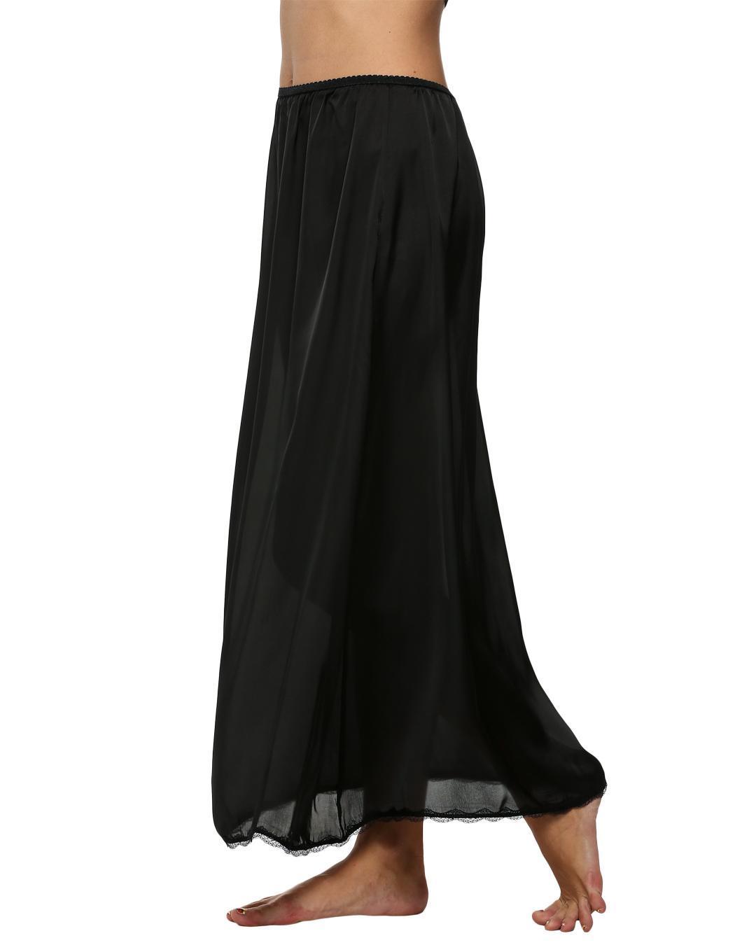 Women Satin Solid Lace Trim Maxi Half Slip Underskirt Slip Skirt 0