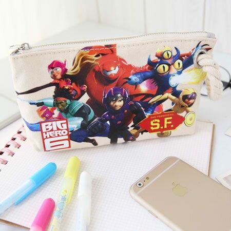 正版 大英雄天團 麻繩帆布收納包 手提帆布筆袋 阿廣 杯麵 化妝包 收納包 萬用包 Big Hero 6 迪士尼【N100239】