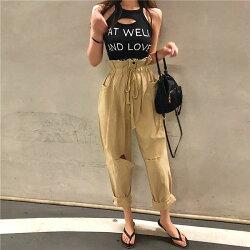 花苞 工作褲 破洞 高腰 抽繩 大口袋 寬鬆 休閒褲 縮口褲 長褲 個性 帥氣 潮流 顯瘦 韓國 ANNA S.
