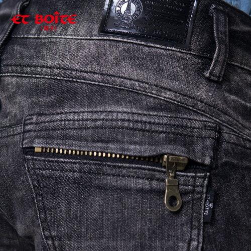 【8折限定↘】ET BOiTE 箱子  微破拉鍊率性丹寧短褲 2